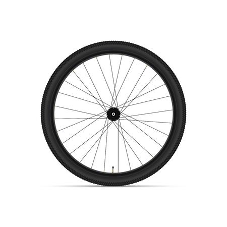 Roue de vélo de montagne. Illustration vectorielle réaliste 3D. Pneu - Rayons - Moyeu - Mamelon.