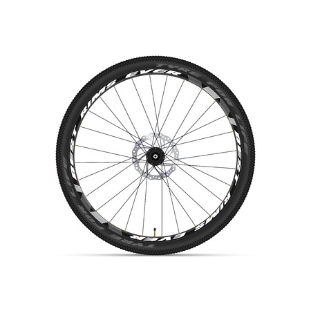 Mountain Bicycle Wheel. 3D Realistic Vector Illustration. Sample Text, Exemplary Branding. Disc Brake Rotor.