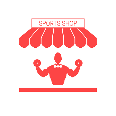 Sports Shop Single Flat Icon. Striped Awning and Signboard. A Series of Shop Icons. Vector Illustration. Illustration