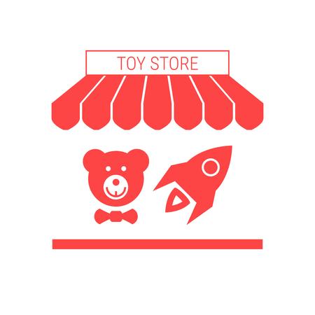Speelgoedwinkel één plat pictogram. Gestreept zonnescherm en uithangbord. Een reeks winkelpictogrammen. Vector illustratie Stockfoto - 96196554