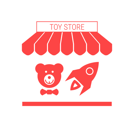 Toy Store Single Flat Icon. Striped Awning and Signboard. A Series of Shop Icons. Vector Illustration. Vectores