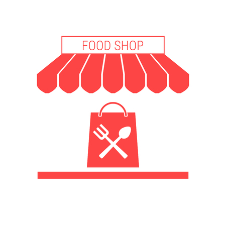Food Shop, Grocery Store Single Flat Vector Icon. Striped Awning and Signboard. A Series of Shop Icons.