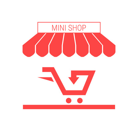 Small Shop, Mini Market Single Flat Vector Icon. Striped Awning and Signboard. A Series of Shop Icons.