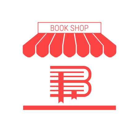 Book Shop, Antiquarian Rare Books Store Single Flat Vector Icon with Striped Awning and Signboard. Illustration