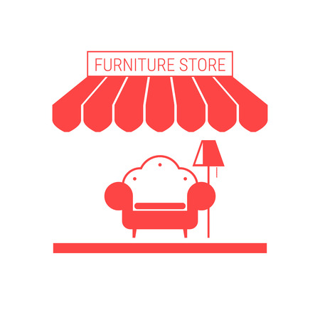 Furniture Store, Home Furnishings Shop Single Flat Vector Icon. Striped Awning and Signboard. A Series of Shop Icons. Illustration