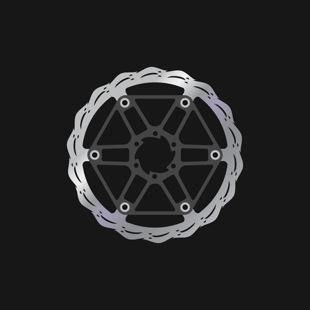 MTB Bike, Bicycle Disc Brake Rotor. Realistic Vector Illustration. Bike Spare Parts Series.