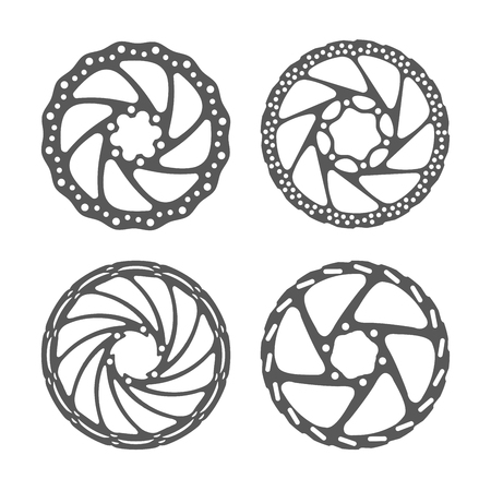 Bicycle disc brake set. Bike disc brake rotors of different shapes. Realistic vector illustration. Bike spare parts series.