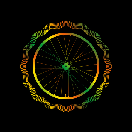 Decorative Bike Rim with Bright Gradient. Guilloche Vector Frame. Illustration on a Black Background. Illustration