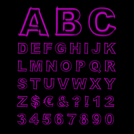 Blurred Neon Font. Purple Letters, Signs and Numerals on a Black Background. Vector Illustration