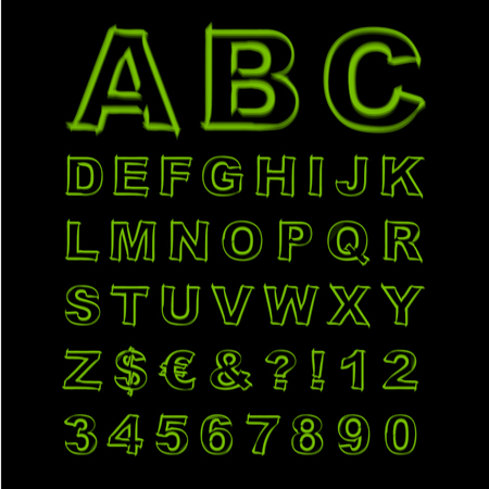 Blurred Neon Font. Green Letters, Signs and Numerals on a Black Background. Vector Illustration