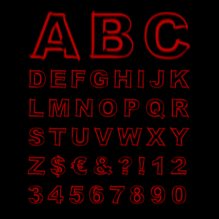 Blurred Neon Font. Red Letters, Signs and Numerals on a Black Background. Vector Illustration