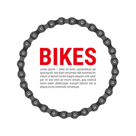 Round Vector Frame Made of Bike or Bicycle Chain with Sample Text Design. Stock Illustratie