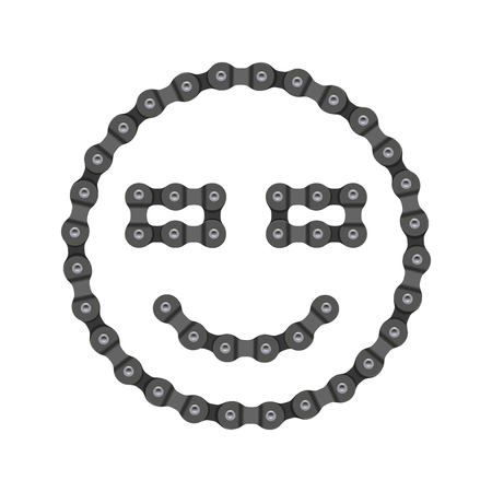 Smile, Smiling Emoji Vector Icon Made of Bike or Bicycle Chain. Realistic Detailed Bike Chain.