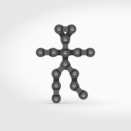 Dancing Man Vector Icon Made of Bike or Bicycle Chain. Realistic Detailed Bike Chain.