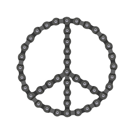 Vector Peace Sign Made of Bike or Bicycle Chain. Realistic Detailed Bike Chain.