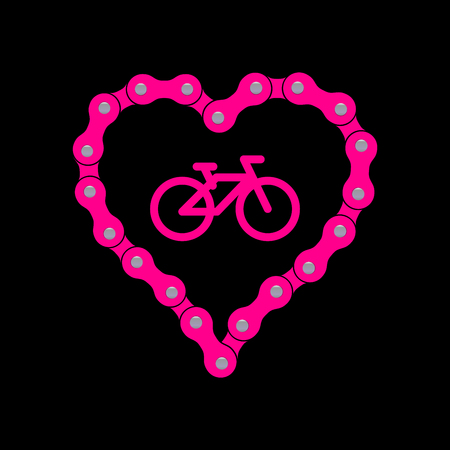 Vector Heart Made of Bike or Bicycle Chain. Flat Monochrome Bike Chain. Pink Heart Background plus Bicycle Sample Icon.