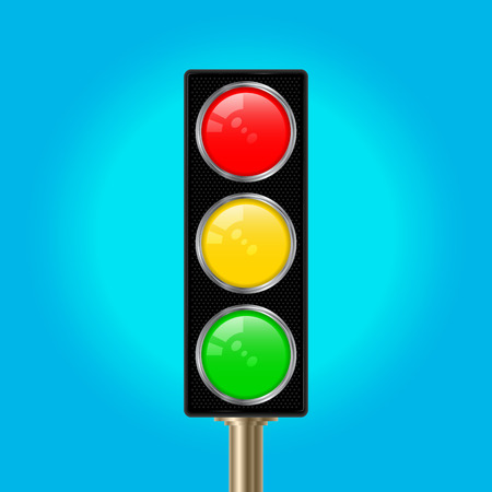 Traffic Light Pole, Vector Illustration. Blue Sky Background. Red, Yellow and Green Lights.