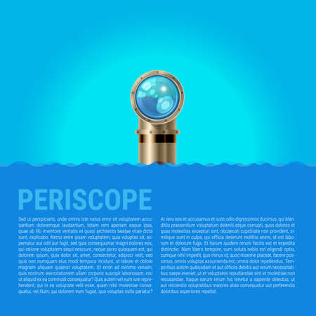 Periscope Background, Sea Waves Vector Background. Metal periscope with a Sparkling Lens in the Waves Above the Water.