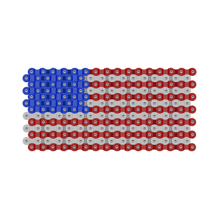 USA, United States or American Flag Made of Vector Bike or Bicycle Chain. Realistic Detailed Bike Chain Links.