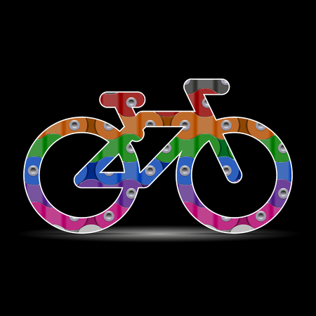 Multicolored Vector Bike or Bicycle Icon Made of Bicycle Chain on a Black Background Stock Illustratie