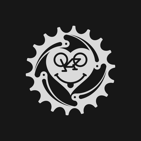 Bicycle Chain Ring with Bicycle Emoji. Heart and Smiling Face. I Love Cycling Emblem. Grey Emblem on a Black Background. Original Artwork for Graphic Design.vector Çizim