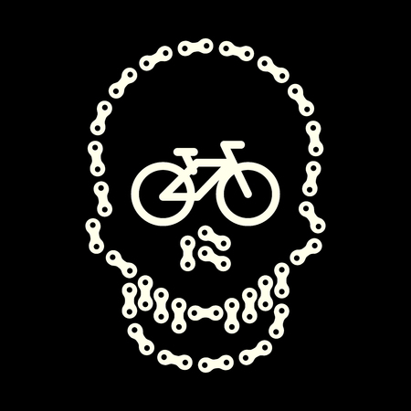 Vector Human Skull Made of Bike or Bicycle Chain. Skull and Bike Icon. I Love Cycling Concept. White Monochrome Bike Chain Skull Isolated on Black Background. T-Shirt Print