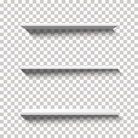 Three Empty White Vector Shelfs with Long Shadows on a Transparent Background. Blank Showcase, Three Different Angles. Ready-made Design Elements for Your Graphics. Standard-Bild - 98803318
