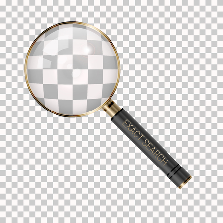 Vector Magnifier on a Transparent Background. Magnifying Glass Icon. Loupe as Exact Search Symbol. 일러스트