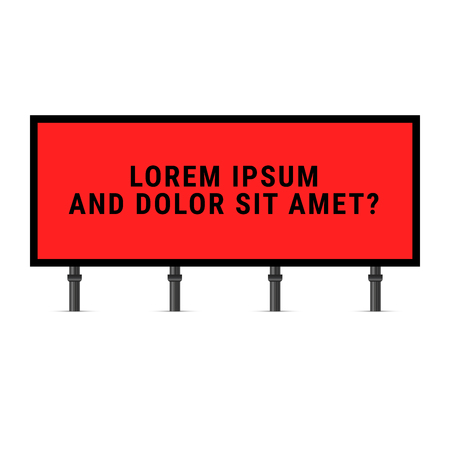 Red and Black Billboard. Black Text on a Red Background. Widescreen Banner. Vector Illustration of a Large Billboard.