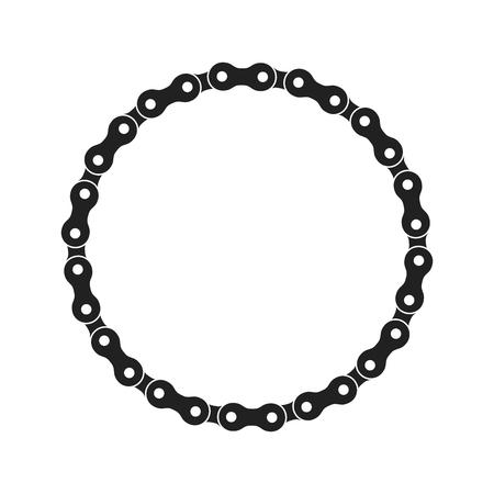 Ronde Vector Frame gemaakt van fiets of fietsketting. Zwart-wit zwarte fietsketting. Leeg fietsketting cirkelframe.