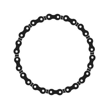 Round Vector Frame Made of Bike or Bicycle Chain. Monochrome Black Bike Chain. Blank Bike Chain Circle Frame.