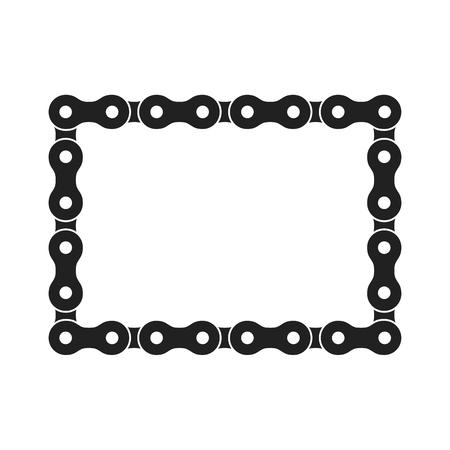 Rectangular Vector Frame Made of Bike or Bicycle Chain. Monochrome Black Bike Chain. Blank Bike Chain Square Frame. Stock Illustratie