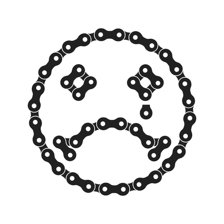 Vector Sad Face Icon Made of Bike or Bicycle Chain. Sad Emoji with Tear. Unhappy Face. Monochrome Black Bike Chain. Negative Vector Smile for Graphic Design, Social Media, UI, Mobile App. Ilustração