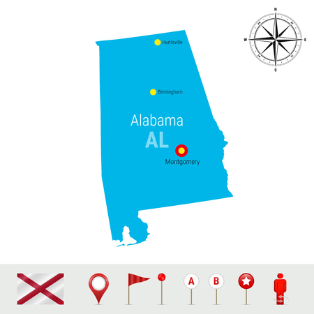 Alabama Vector Map Isolated on White Background. High Detailed Silhouette of Alabama State. Vector Flag of Alabama. 3D Map Markers or Pointers, Navigation Elements. Rose of Wind or Compass Icon Stock Illustratie