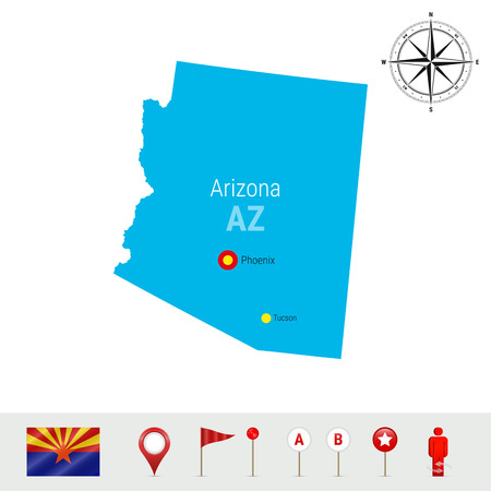 Arizona Vector Map Isolated on White Background. High Detailed Silhouette of Arizona State. Stock Illustratie