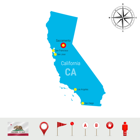 California Vector Map Isolated on White Background. Detailed Silhouette of California State. Vector Flag of California. 3D Map Markers or Pointers, Navigation Elements. Rose of Wind or Compass Icon Illustration