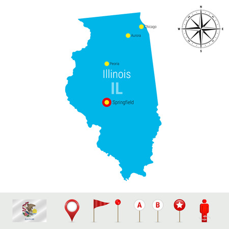 Illinois Vector Map Isolated on White Background. High Detailed Silhouette of Illinois State.