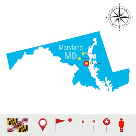 Maryland Map icon illustration