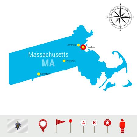 Massachusetts Vector Map Isolated on White Background.  イラスト・ベクター素材