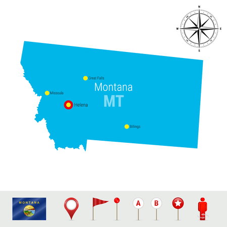 Montana Vector Map Isolated on White Background. High Detailed Silhouette of Montana State. Vector Flag of Montana. 3D Map Markers or Pointers, Navigation Elements. Rose of Wind or Compass Icon 向量圖像