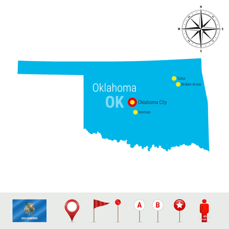 Oklahoma Vector Map Isolated on White Background. High Detailed Silhouette of Oklahoma State. Vector Flag of Oklahoma. 3D Map Markers or Pointers, Navigation Elements. Rose of Wind or Compass Icon