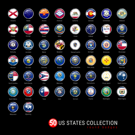US States Flags Round Badges. All 50 Flags of the US States in a Single Vector File. Realistic 3D Glossy Buttons with Metal Frames on a Black Background.