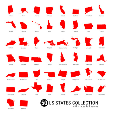 50 US States Vector Collection. High-Detailed Red Silhouette Maps of All 50 States. US States with Full Names.