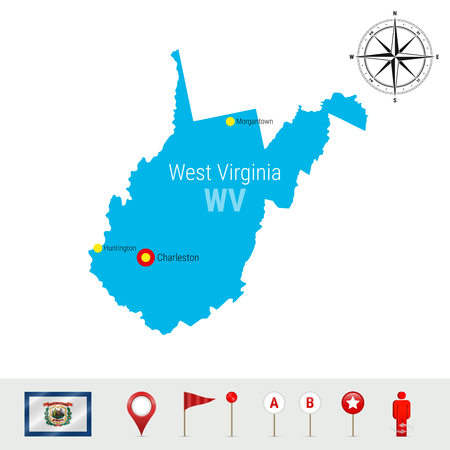 West Virginia Vector Map Isolated on White. High Detailed Silhouette of West Virginia State. Vector Flag of West Virginia. 3D Map Markers or Pointers, Navigation Elements. Rose of Wind or Compass Icon