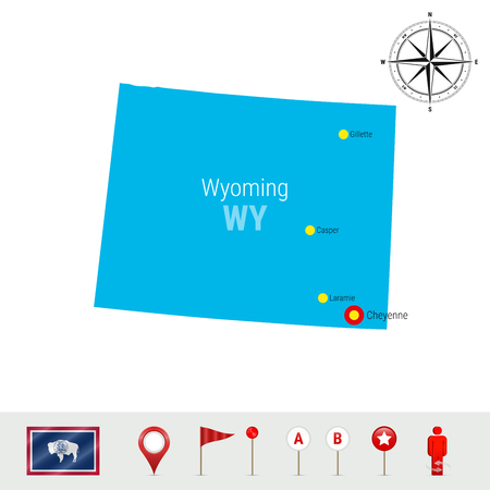 Wyoming Vector Map Isolated on White Background. High Detailed Silhouette of Wyoming State. Vector Flag of Wyoming. 3D Map Markers or Pointers, Navigation Elements. Rose of Wind or Compass Icon