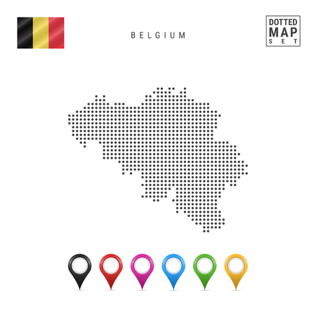 Dotted Map of Belgium. Simple Silhouette of Belgium. The National Flag of Belgium. Set of Multicolored Map Markers. Vector Illustration Isolated on White Background.