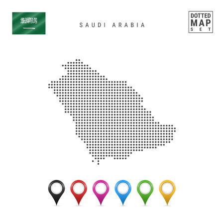 Dotted Map of Saudi Arabia. Simple Silhouette of Saudi Arabia. The National Flag of Saudi Arabia. Set of Multicolored Map Markers. Vector Illustration Isolated on White Background.