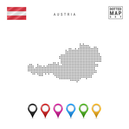Dotted Map of Austria. Simple Silhouette of Austria. The National Flag of Austria. Set of Multicolored Map Markers. Vector Illustration Isolated on White Background.