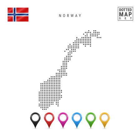 Dotted Map of Norway. Simple Silhouette of Norway. The National Flag of Norway. Set of Multicolored Map Markers. Vector Illustration Isolated on White Background. Stock Illustratie