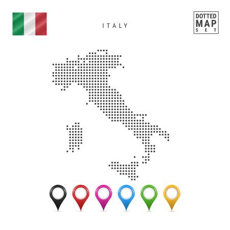 Mappa punteggiata d'Italia. Siluetta semplice dell'Italia. La bandiera nazionale d'Italia. Set di indicatori di mappa multicolori. Illustrazione vettoriale isolato su sfondo bianco. Vettoriali